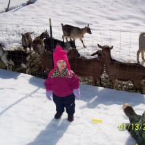 Evelyn with goats